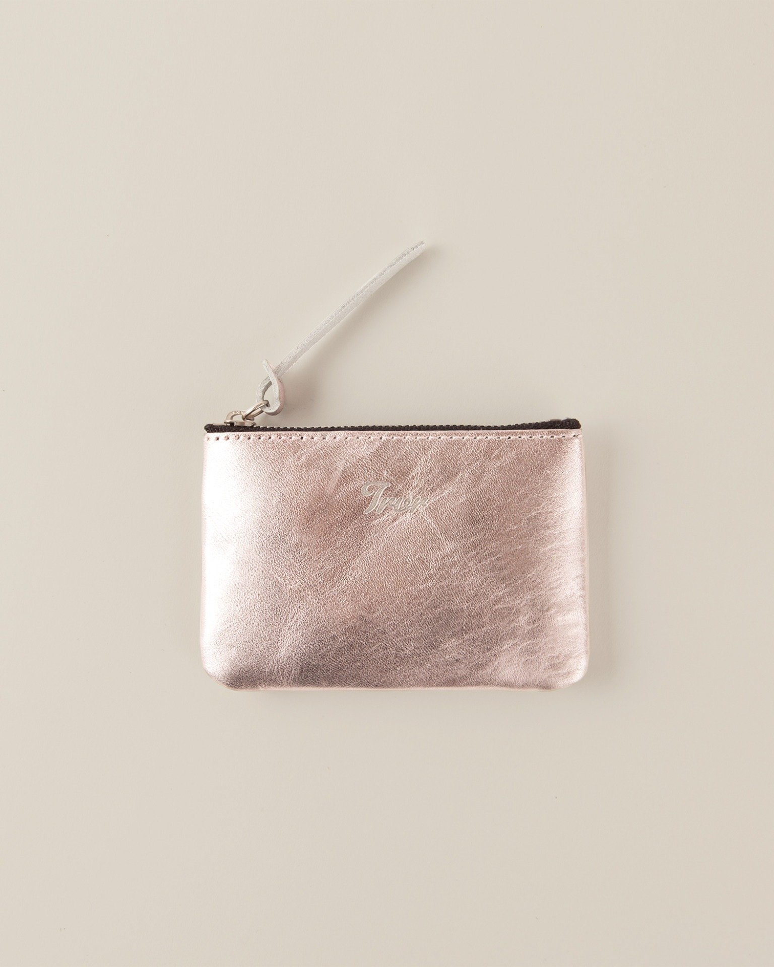 Leather Pouch S-Metalic Pink