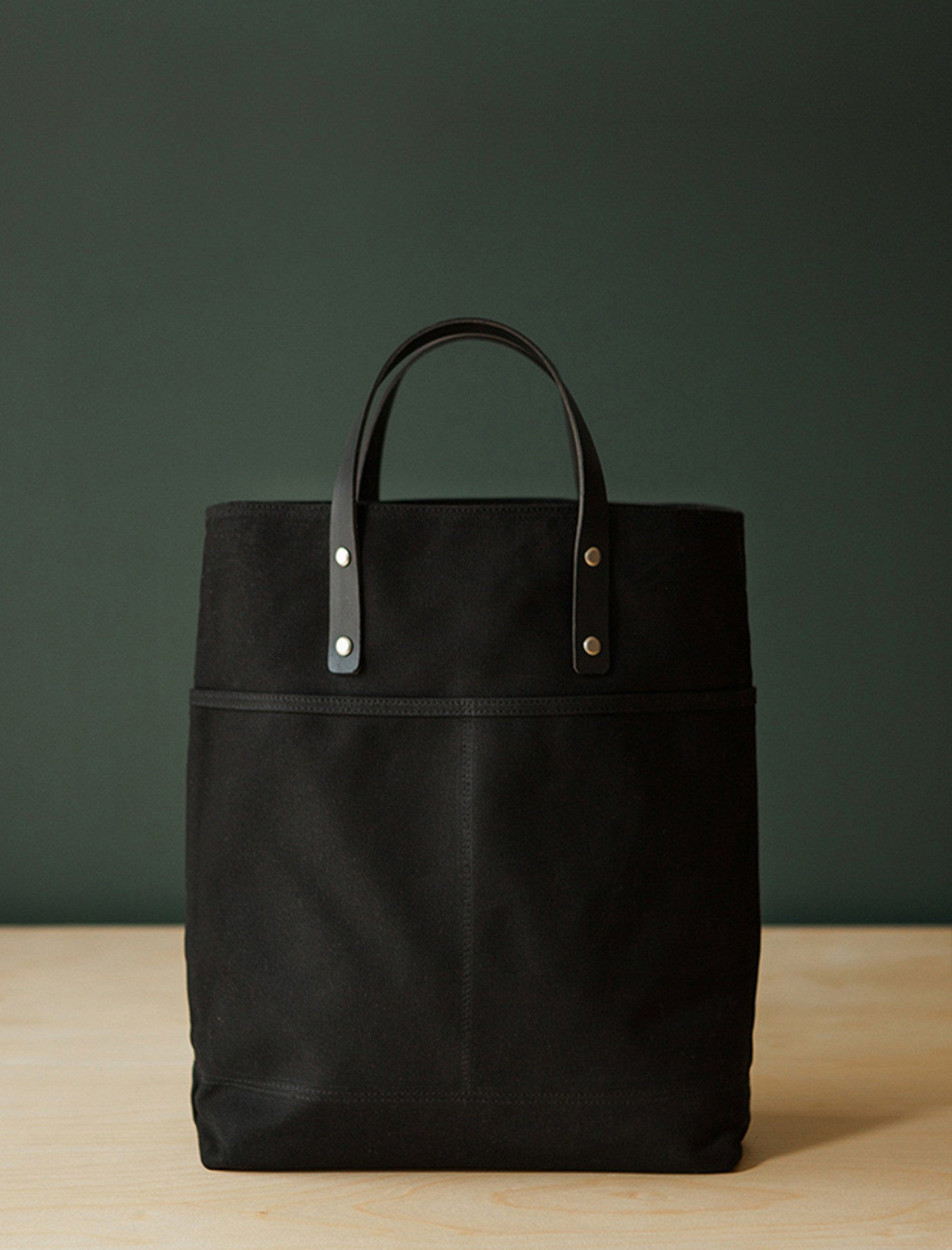 2 WAY TOTE  WAXED CANVAS - BLACK